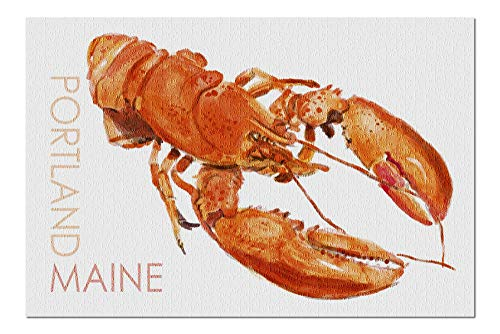 (Portland, Maine - Lobster - Watercolor 96136 (20x30 Premium 1000 Piece Jigsaw Puzzle, Made in USA!))