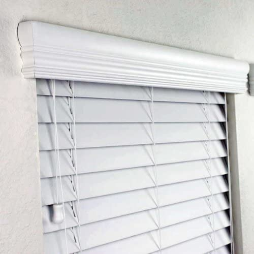 2 FAUX WOOD BLINDS 46 1 2 x 48 INCHES IN WHITE WITH PREMIUM UPGRADED CROWN VALANCE FASCIA