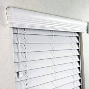 2 faux wood blinds 42 x 48 inches in white with premium upgraded crown valance. Black Bedroom Furniture Sets. Home Design Ideas