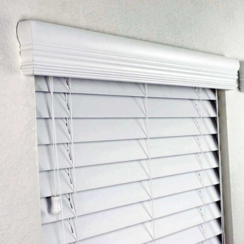 "2"" FAUX WOOD BLINDS 46 1/2 x 48 INCHES IN WHITE WITH PREMIUM"