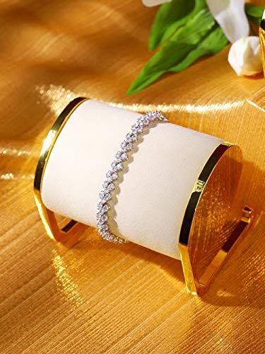 Soporte exhibición de brazalete en metal dorado para joyeria