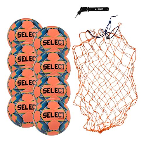 Select Club DB Soccer Ball Package - Pack of 8 Soccer Balls with Ball Net and Hand Pump, Orange, Size 5