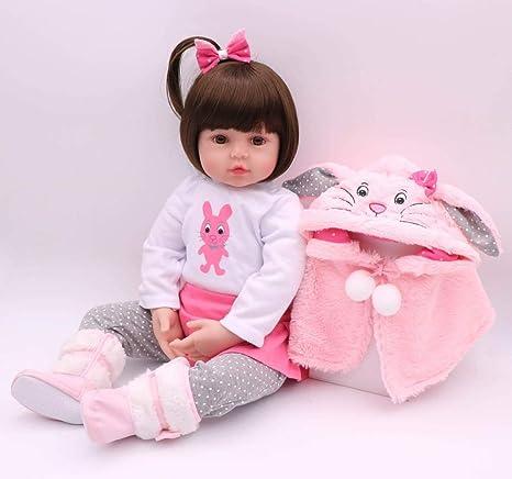 IVITA 47cm Full Body Silicone Closed Eyes Nice Doll Vivid Girl Toy Xmas Gift