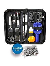 MMOBIEL 144 PCS Professional Watchmaker Repair Tool Kit Incl. Watch Spring Pin Bars and Back Case Opener Screw in Nylon Bag