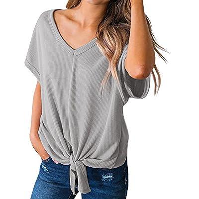 ANJUNIE Women's Casuasl Basic T Shirts Solid V-Neck Short Sleeve Bandage Loose Top Blouse
