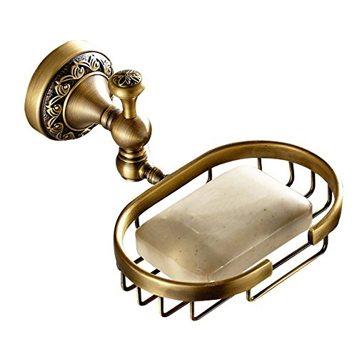 7Trees Vintage Style Solid Brass Wall Mounted Bath Shower Soap Dish Holder Bathroom Accessories Soap Basket Antique Brass and Oil Rubbed Bronze Soap Shelf (Antique Brass) (Brass Basket Vintage)
