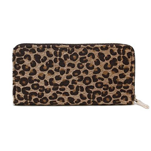 Me Plus Women Faux Fur Animal Print Furry Leopard Zebra Wallet Zipper Closure Card Slots Zippered Coin Pouch (Leopard-Beige) (Women Wallet Animal Print)
