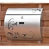 nanook Edelstahl Wandbriefkasten / Briefkasten - gebürstet - 37,5 cm mit schicker Verzierung