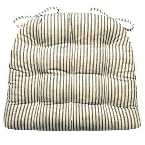 Barnett Products Ticking Stripe Black Dining Chair Pad with Ties - Size Standard - Latex Foam Filled Cushion - Made in USA