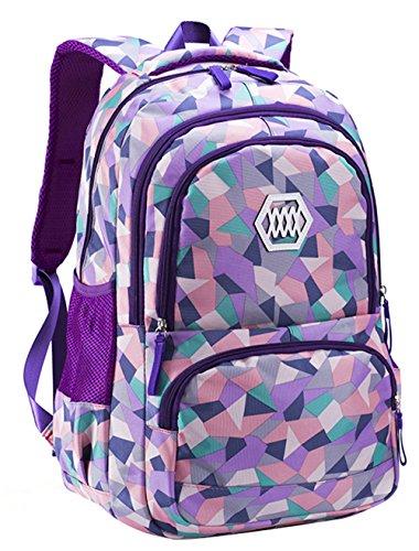 (JiaYou Girl Flower Printed Primary Junior High University School Bag Bookbag Backpack(19 Liters, Style B Purple))