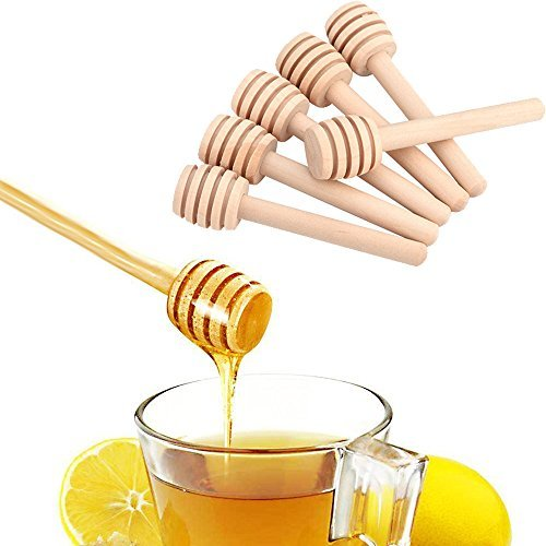 Honey Dippers Wooden Stirrers 8cm Portable Mini Jam Stirring Rod Set of 50 by BEINIU