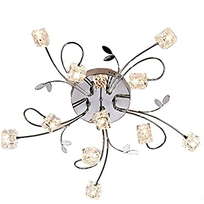 MAMEI™Flush Mount Modern Dimmable Ceiling Chandelier Lighting with 11 Lights LED Bulbs and Remote Controller Included
