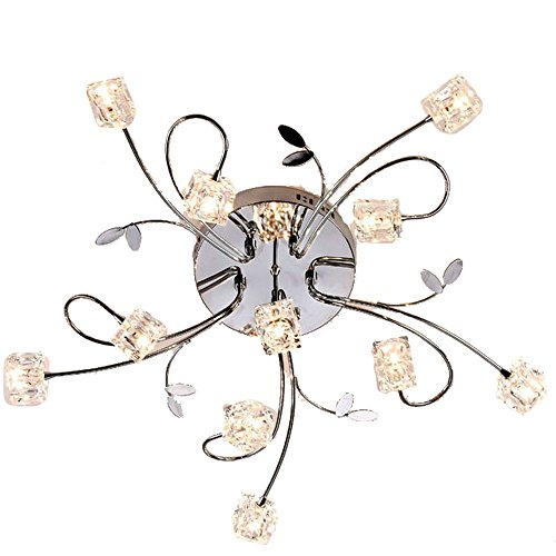 DINGGU™ Flush Mount Modern Dimmable Ceiling Chandelier Lighting with 11 Lights LED Bulbs and Remote Controller Included (11 Flush Mount Chandelier)