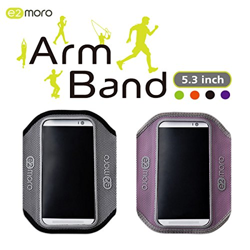 Taiwan Present e2moro 2PCS Sports Armband with Key Holder Outdoor Cell Phone Bag Workout Arm Band Case for iPhone 6 HTC One M8 Sony Xperia Z1 Z2 Z3 Samsung Galaxy S4 S5 (Purple, Black)