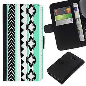 KLONGSHOP // Tirón de la caja Cartera de cuero con ranuras para tarjetas - Formas Patrón Verde Negro Blanco - Sony Xperia M2 //