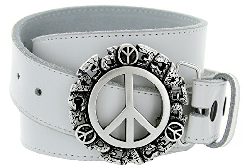 - Made In Italy: Solid Metal Peace Sign Belt Buckle With Smooth Texture Belt Strap In Various Colors