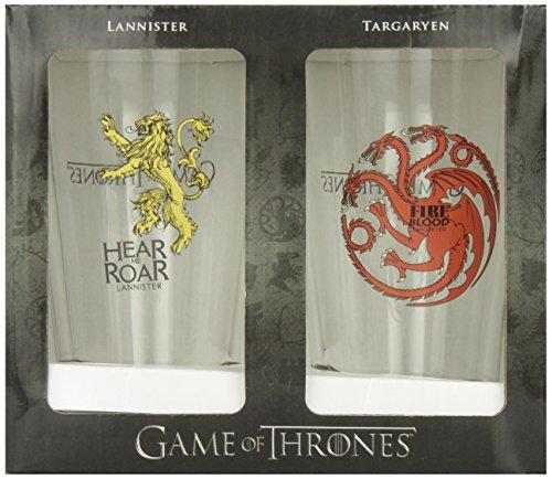 Dark Horse Deluxe Game of Thrones Pint Glass Set: Targaryen and Lannister