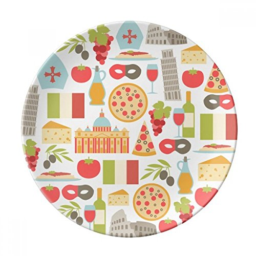 Italy The Leaning Tower of Pisa Roman Dessert Plate Decorative Porcelain 8 inch Dinner Home (Roman Dessert)
