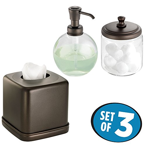 mDesign Soap Dispenser Pump, Facial Tissue Box/Cover/Holder, Canister Jar for Cotton Balls, Swabs, Cosmetic Pads - Set of 3, (Cotton Pumps)