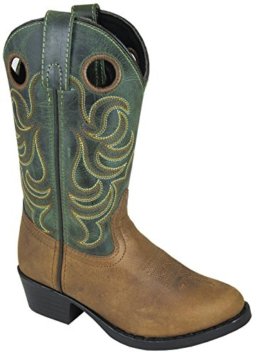 Green Distressed Leather Footwear - Smoky Mountain Youth Henry Distressed Leather Shaft Round Toe Brown/Green Western Cowboy Boot
