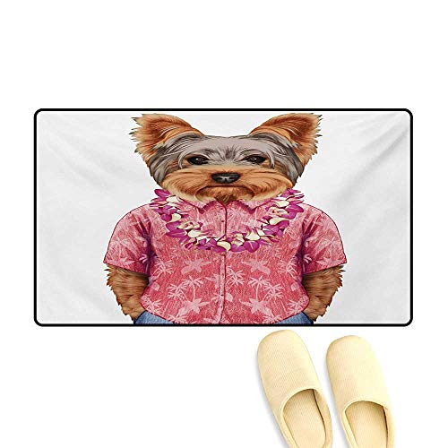 (Bath Mat,Portrait of a Dog in Humanoid Form with a Pink Shirt with Hawaian Lei Fun Image,Customize Door Mats for Home Mat,Multicolor,24