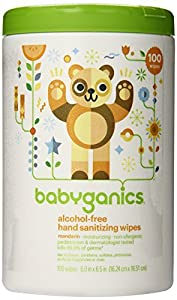 Babyganics Alcohol-Free Hand Sanitizer Wipes, Mandarin, 100 Count Canister (Pack of 2)