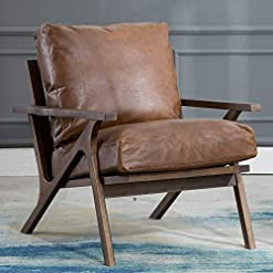 Farmhouse Accent Chairs Mid Century Chair, Retro Upholstered Accent Armchair with Wood Frame and Faux Leather Cushions, Large Leisure Chair for… farmhouse accent chairs