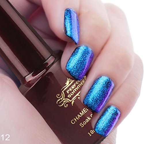 Perfect Summer 3D Holographic Chameleon Colors Changes 10ml Gel Nail Polish UV/LED Soak Off Nail Lacquers Creative French Manicure Art #12