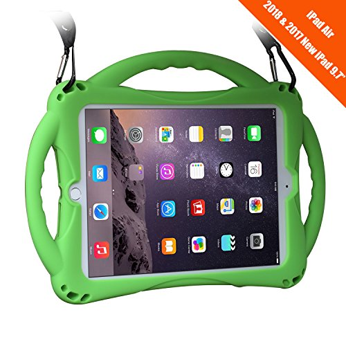 New-iPad-20172018-97-inch-CaseiPad-Air-Case-TopEsct-Shockproof-Silicone-Handle-Stand-Case-CoverTempered-Glass-Screen-Protector-For-Apple-New-iPad-97inch20172018-Version-and-iPad-AirGreen