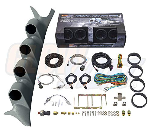 GlowShift Diesel Gauge Package for 1999-2007 Ford Super Duty F-250 F-350 Power Stroke - Tinted 7 Color 60 PSI Boost, 1500 F EGT, Transmission Temp & 100 PSI Fuel Pressure Gauges - Gray Quad Pillar Pod (Ford Black Dial)