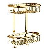 BAIANLE Bathroom Double Layer Golden Storage Holder Shelves Kitchen Baskets for Storage Hanging Toilet Baskets for Closet Mounted Heavy Duty Modern