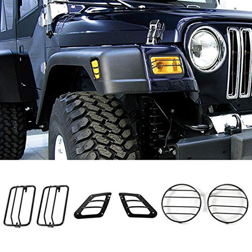 YOCTM Auto Exterior Front Bumper Side Turn Signal Light Headlight Guard Cover for Jeep Wrangler TJ 1997-2006 Car Styling (Pack of 6)