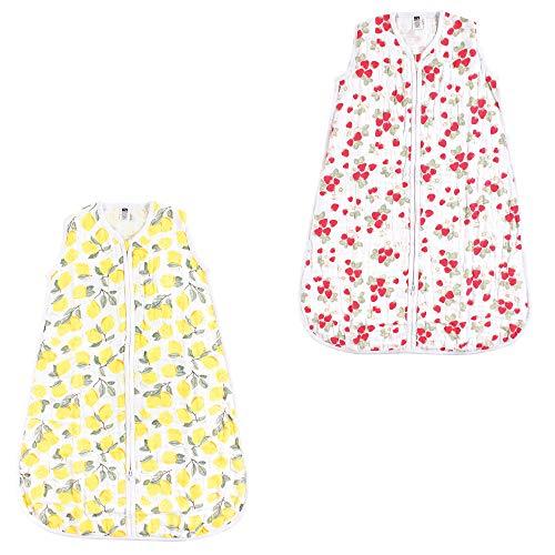 Hudson Baby Unisex Baby Safe Sleep Wearable Muslin Sleeping Bag, Lemons/Strawberries 2-Pack, 0-6 Months