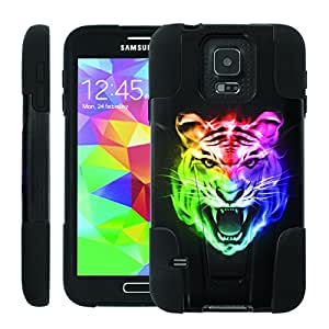 [ManiaGear] Rugged Armor-Stand Design Image Protect Case (Color Tiger Face) for Samsung Galaxy S5