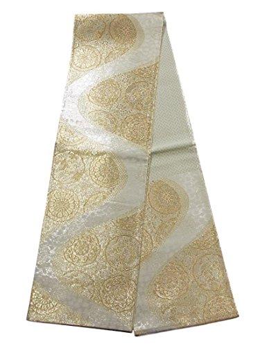 対立セマフォ権威リサイクル 袋帯 正絹 六通 流水 華文 菊に鶴