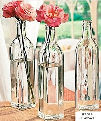 Square Clear Bottle Vases 10''H x 2''W - Set of 3 - Everyday Decorative Accessories & Vases