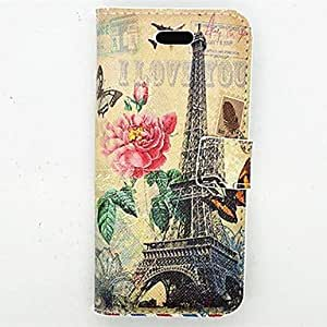 QJM Tower Series Pattern PU Full Body Case With Card Slot and Stand for iPhone 5/5S