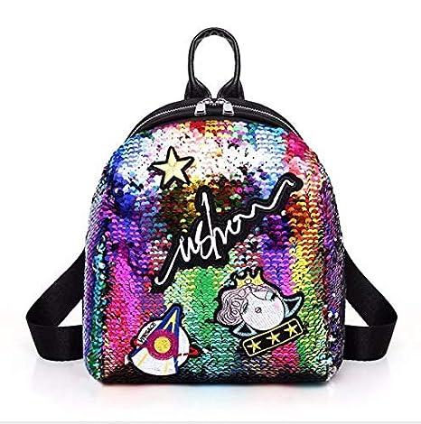OneMoreT Mini mochila con lentejuelas y bonitas mochilas bordadas para mujeres y niñas, mochila brillante para la escuela, multicolor: Amazon.es: ...