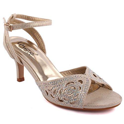 Unze London Women 'Frawn' Diamante Embellished Peep-Toe M...