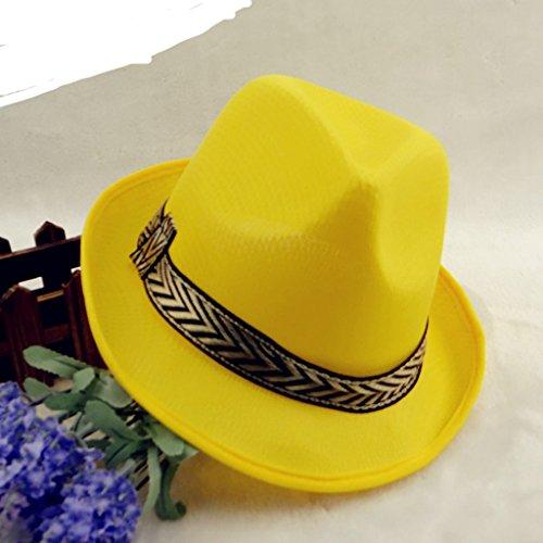 Men Women Fedora Jazz Hats Trilby Soft Summer Spring Outdoor Beach Sun Hat by AOBRITON