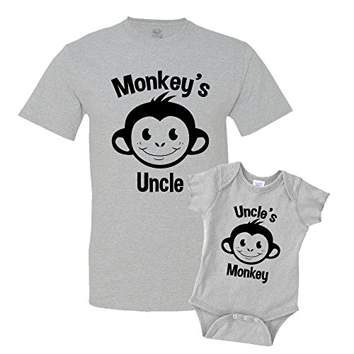 (Monkey's Uncle and Uncle's Monkey Uncle and Baby Matching Shirt Set Athletic Heather)