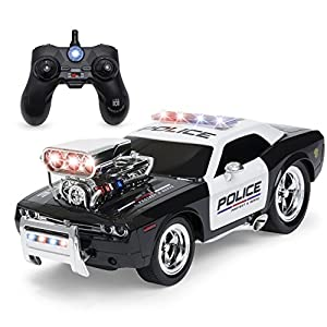 Best Choice Products 2.4GHz Remote Control Police Car w/ Lights, Rechargeable Batteries, USB Cable - Black