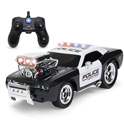 Best Choice Products 1/14 Scale 2.4GHz Remote Control Police Car w/ Flashing Lights, Sound Effects, Non-Slip Rubber Tires, Rechargeable Batteries, USB Cable - Black