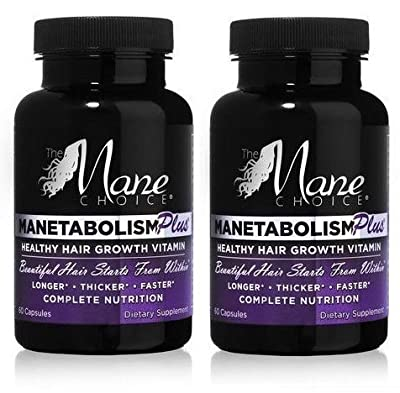 Manetabolism Plus Hair Growth Vitamins 60 capsules, (pack of 2) by The Mane Choice
