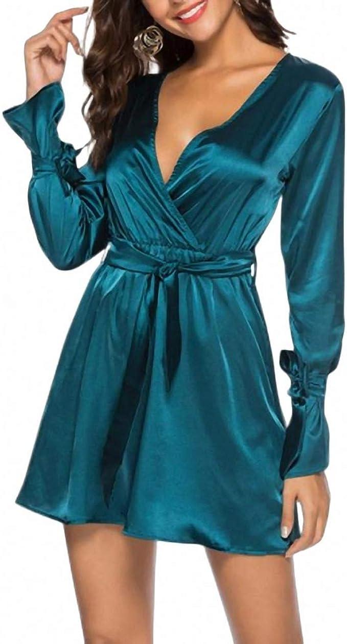 Vestido De Seda De Satén De Imitación De Las Mujeres Profundo ...
