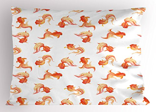 Cycle Freshwater Aquarium (Fish Pillow Sham by Lunarable, Goldfish Motifs Freshwater Aquarium Crucian Carp Animal Artistic Watercolors Print, Decorative Standard King Size Printed Pillowcase, 36 X 20 Inches, Orange White)