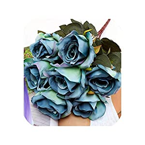 Gift Box Flowers 7 Heads French Rose Floral Bouquet Fake Arrange Table Daisy Decor Silk Artificial Flowers Accessory Flores,Blue Peacock 58