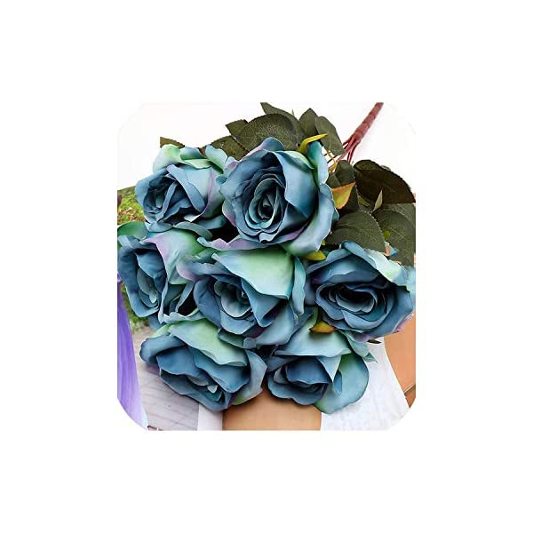 Gift Box Flowers 7 Heads French Rose Floral Bouquet Fake Arrange Table Daisy Decor Silk Artificial Flowers Accessory Flores,Blue Peacock