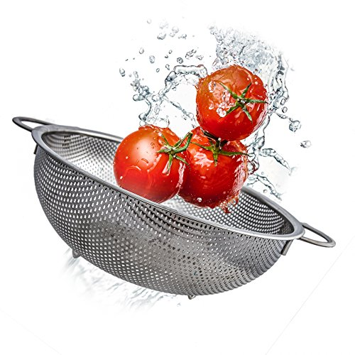 Uni Steel Stainless Kitchen Colander - Large, 3 Quart Mesh/ Micro Perforated Metal Strainer with Handles and Base - best for Draining Pasta or Cleaning Food like Fruit