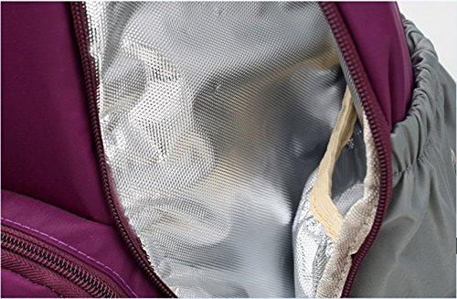 Multi-funcional bolso de la momia, bolsa de la madre de los hombros de la capacidad grande, bolso impermeable del bebé de la madre, mujeres embarazadas van la morral ( Color : Purple ) Verde